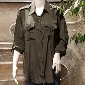 Rock & Republic Army Green Button Down Shirt